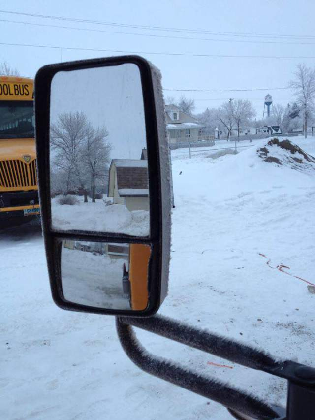 hoarfrost on bus mirrors