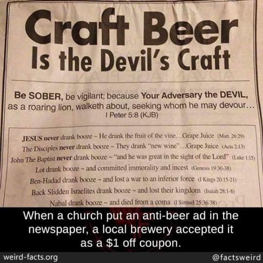 craft beer is the devil's craft